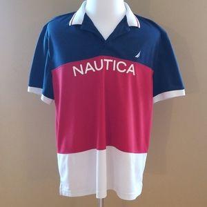 Nautica Red White Blue Polo Shirt XL